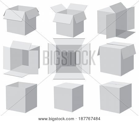 Set of gray boxes, different angles. Vector illustration