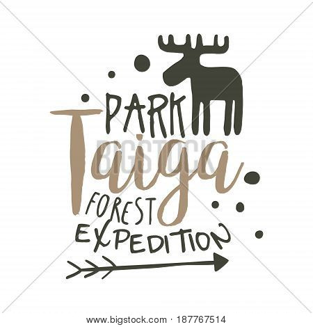 Taiga park forest expedition design template, hand drawn vector Illustration isolated on a white background