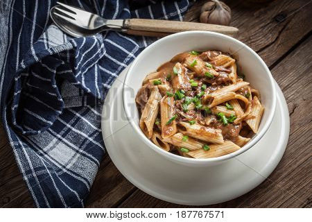 Pasta Penne With Pork Sauce.