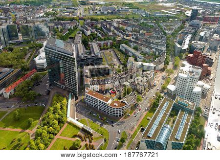 Dusseldorf, Germany - May 11, 2017: High Top View Of City Office Buildings From Dusseldorf Rhine Tow