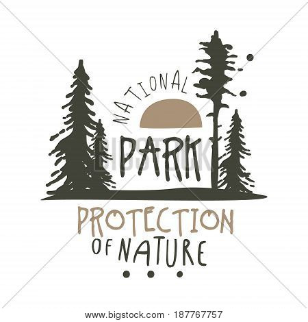 National park protection of nature design template, hand drawn vector Illustration isolated on a white background