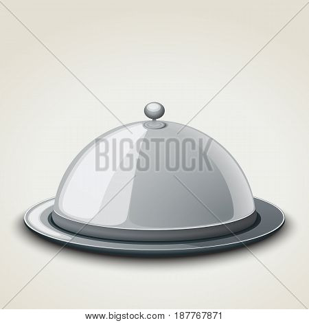 Grey kitchen tray for restaurant, icon, isolated on white. Vector illustration.