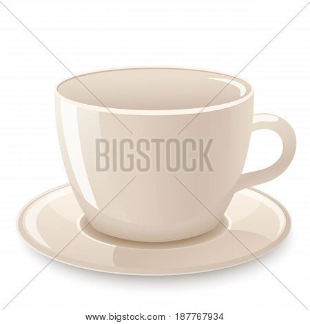 Cup of coffee, tea isolated on white. Icon of cup. Vector illustration.