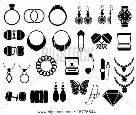 Jewelry icons set for your site, isolated on white. Vector Illustration.