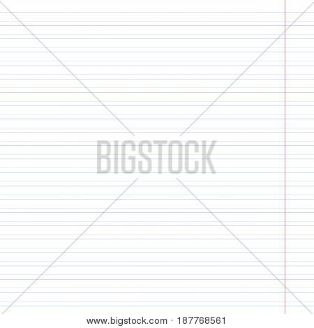 Notebook white paper with blue line with fields. Vector illustration