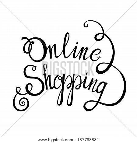 Online shopping lettering concept background for your design. Vector illustration