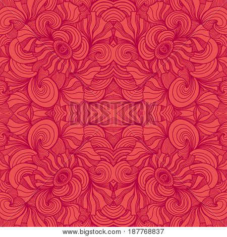 Abstract Zen-doodle seamless pattern in  red colors for  decoration cosmetic perfume textile clothes package