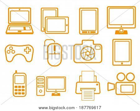 Orange electronic devices icons for your business and website. Vector illustration.