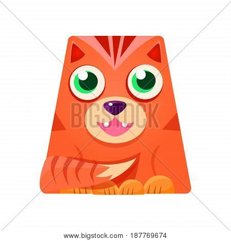 Lovely geometric tiger in the shape of a trapezoid, colorful cartoon character vector Illustration isolated on a white background