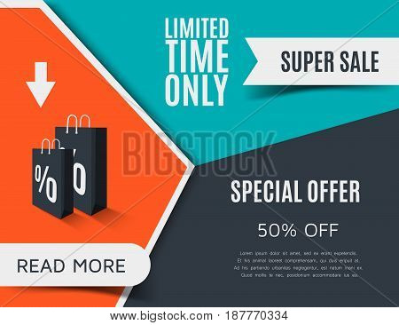 Creative sale banner design. Orange discount poster. Limited time only special offer. Vector illustration eps10