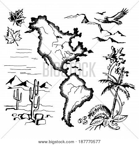 Map of North and South America, and the natural character of these continents. Vector sketch stylized engraving.