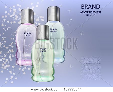 Glamorous Cosmetic Bottles Jars on the Sparkling Effects Background. Mock-up 3D Realistic Vector illustration for design template