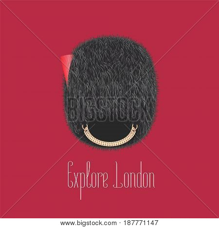 Queen's guard, beefeater traditional hat vector illustration. Concept design for travel to London, UK