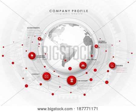 Company profile overview template with red circles dots and polygonal globe - light version.