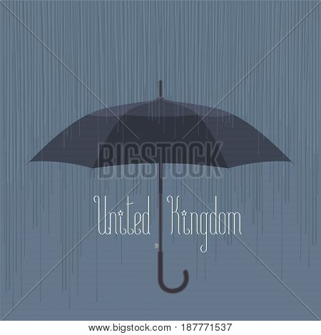 Rain and umbrella in UK, London vector illustration. Concept design for travel to united Kingdom, England