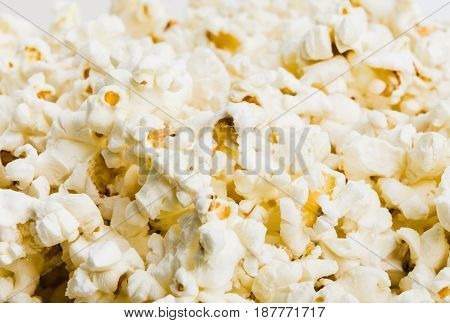 closeup on fresh natural popcorn as background. Delicious popcorn