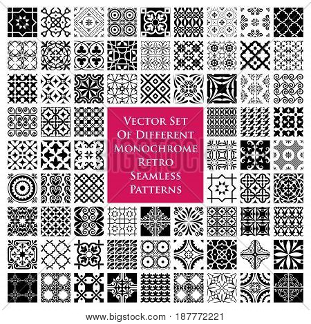 Vector set of different monochrome retro seamless patterns