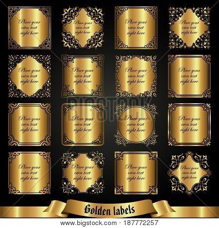 Vector set of golden labels in vintage style