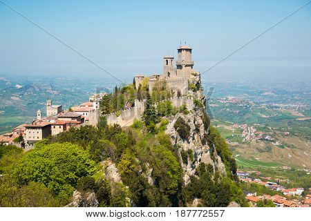 The Guaita fortress is the oldest and the most famous tower on San Marino, Europe