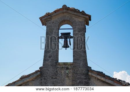 Old bell on tower of San Marino, Europe