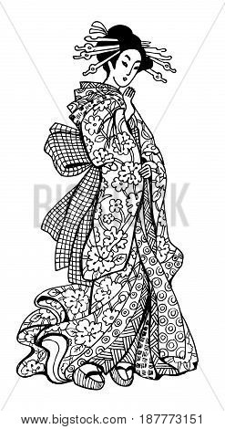 graphics Japan geisha ant-stress illustration art therapy zentagl