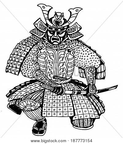 graphics Japan samurai ant-stress illustration art therapy zentagl