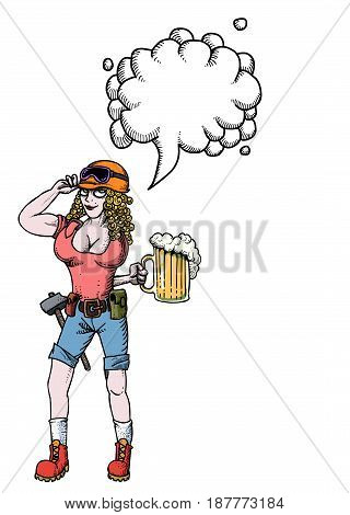 Cartoon image of hard working woman with beer. An artistic freehand picture. With speech bubble.