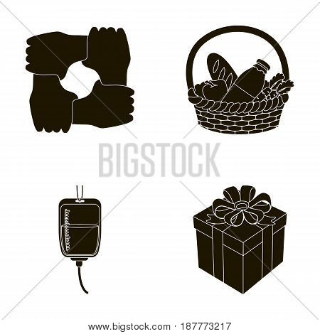 Gesture of the hands in support, a basket with food for charity, donor blood, a gift donation box. Charity and donation set collection icons in black style vector symbol stock illustration .