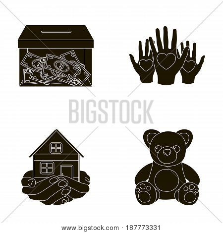 Boxing glass with donations, hands with hearts, house in hands, teddy bear for charity. Charity and donation set collection icons in black style vector symbol stock illustration .