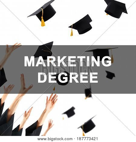 Marketing degree concept. Students throwing graduation caps against white background