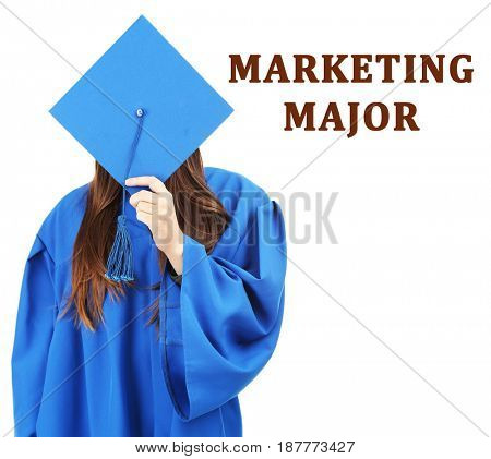 Marketing major concept. Woman in graduation gown and cap on white background