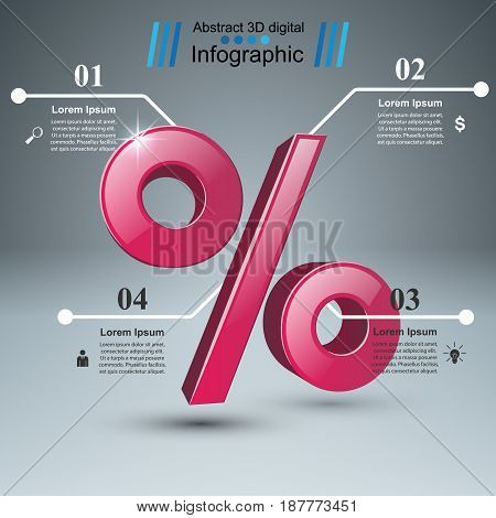 Realistic 3D business infographics. Percent icon. Marketing info