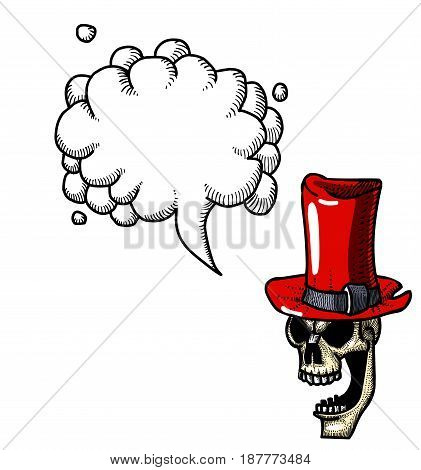 Cartoon image of laughing skull in top hat. An artistic freehand picture. With speech bubble.