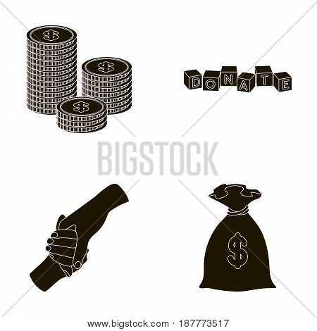 A pile of coins for donations, colored cubes with an inscription, a handshake, a bag of money for donations. Charity and donation set collection icons in black style vector symbol stock illustration .