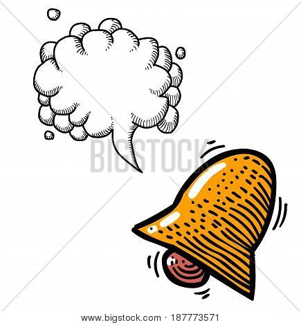 Cartoon image of Notification Icon. Bell symbol. An artistic freehand picture. With speech bubble.