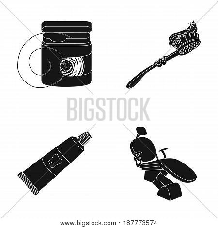 Dental floss, toothbrush, toothpaste, dental chair. Dental care set collection icons in black style vector symbol stock illustration .