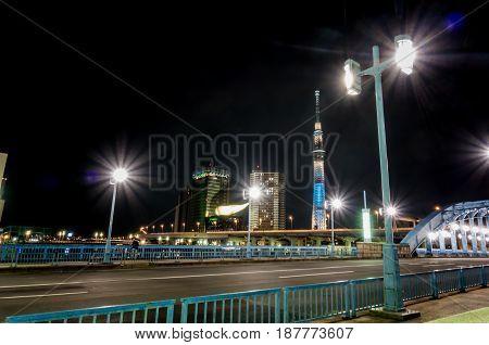The Bridge Across Sumida River from Asakusa Tokyo