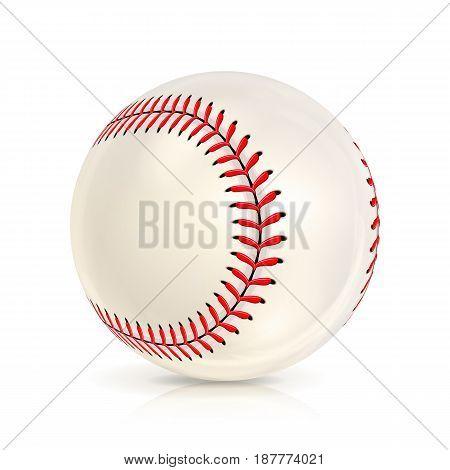 Baseball Leather Ball Isolated On White. SoftBall Base Ball. Shiny