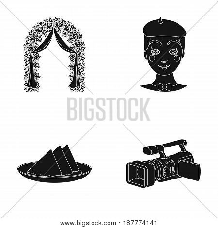 The arch is decorated with roses and silk, a clown in a cap, a plate with red napkins, a video camera. Event services set collection icons in black style vector symbol stock illustration .