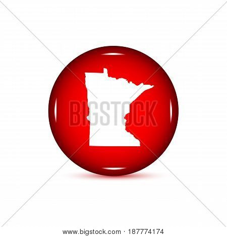Map of the U.S. state of Minnesota. Red button on a white background.