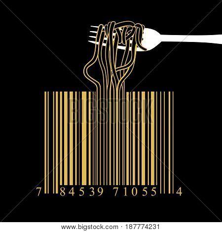 Fork spaghetti barcode design idea concept on a black background