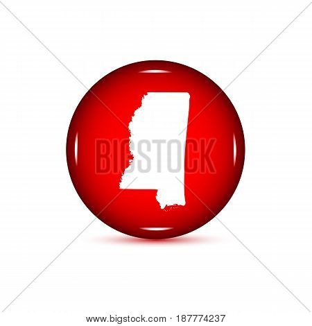 Map of the U.S. state of Mississippi. Red button on a white background.