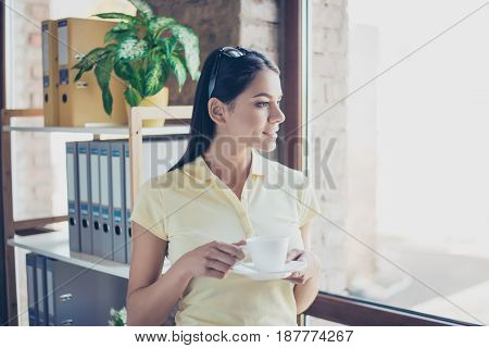 Morning Is Here! Close Up Side Portrait Of Dreamy Cute Latin Mulatto Lady Drinking Coffee. She Is Re
