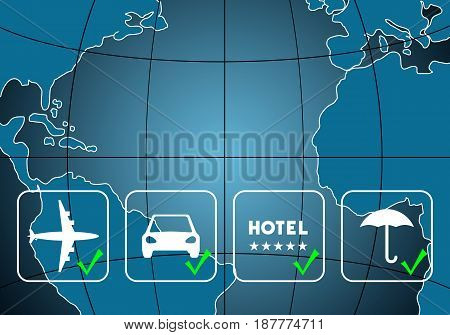 Air ticket and hotel booking car rental travel insurance icons over map background. Vector illustration.