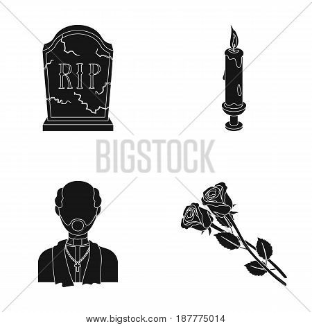 A granite tombstone with an inscription, a mourning candle, a pasteur, a priest, mourning roses. Funeral ceremony set collection icons in black style vector symbol stock illustration .