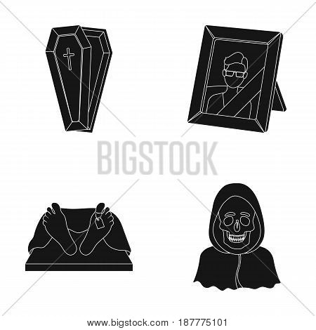 Coffin with a lid and a cross, a photograph of the deceased with a mourning ribbon, a corpse on the table with a tag in the morgue, death in a hood. Funeral ceremony set collection icons in black style vector symbol stock illustration .