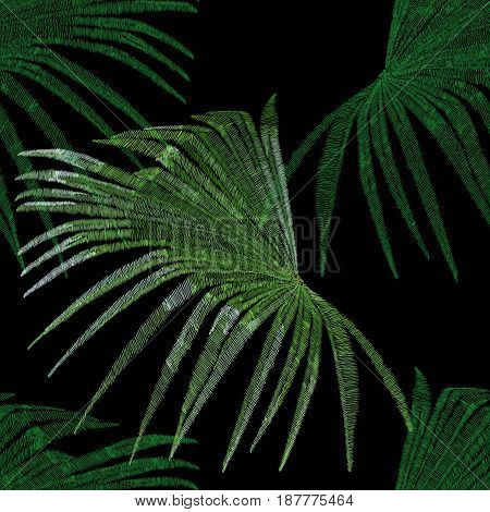 Embroidery palm leaves, embroidery palm, drawn embroidery palm leaves, seamless embroidery palm leaves, decoration embroidery palm leaves, seamless embroidery palm leaves, seamless embroidery. Vector.