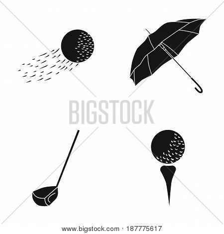 A flying ball, a yellow umbrella, a golf club, a ball on a stand. Golf Club set collection icons in black style vector symbol stock illustration .