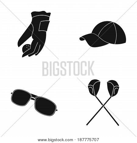A glove for playing golf with a ball, a red cap, sunglasses, two clubs. Golf Club set collection icons in black style vector symbol stock illustration .