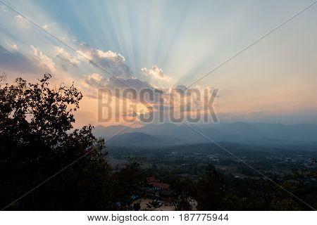 Sunset Above Pai Buddha Temple